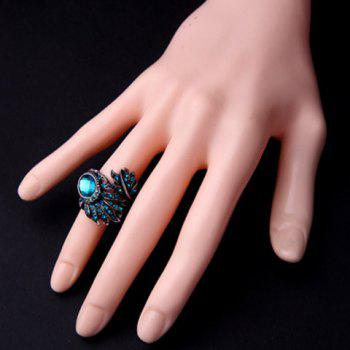 Chic Rhinestone Inlay Feather Shape Women's Ring