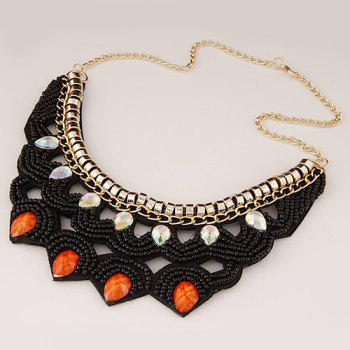 Alloy Water Drop Beads Necklace - BLACK