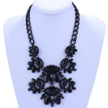 Oval Alloy Hollow Out Necklace - BLACK