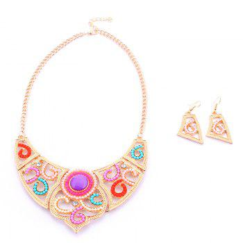 A Suit of Geometric Rhinestone Beads Necklace and Earrings - COLORMIX