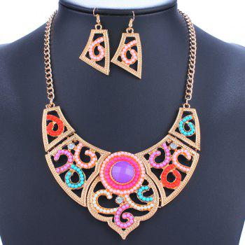 A Suit of Geometric Rhinestone Beads Necklace and Earrings