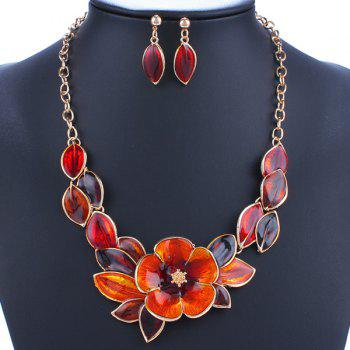 A Suit of Leaf Blossom Necklace and Earrings