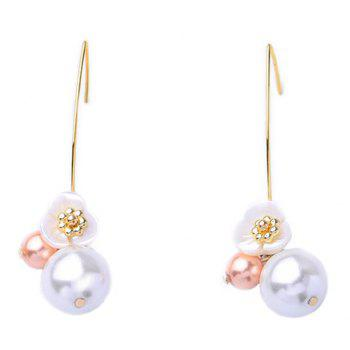 Floral Faux Pearl Hook Earrings