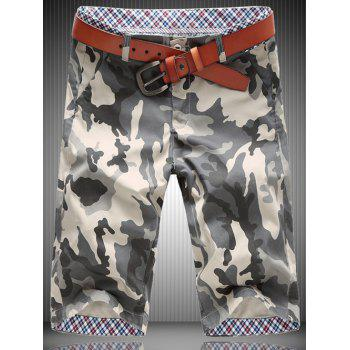 Casual Plus Size Straight Leg Camo Zipper Fly Men's Shorts