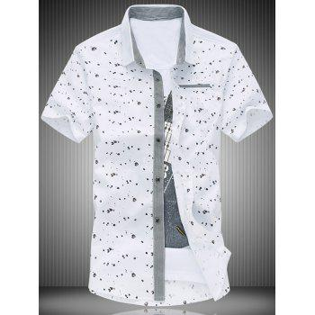 Plus Size Men's Turn-Down Collar Polka Dots Print Short Sleeve Shirt