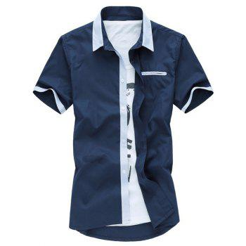 Plus Size Turn-Down Collar Solid Color Short Sleeve Casual Shirt For Men