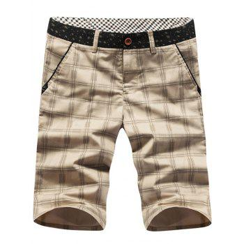 Men's Casual Checked Plus Size Shorts