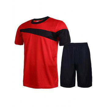 Men's Round Neck Color Block Short Sleeve T-Shirt + Shorts