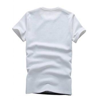 T-shirt 3D Ville imprimé géométrique col rond Plus Size Short Sleeve Men  's - Blanc XL