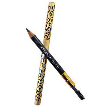 Cosmetic Leopard Pattern Double-End Waterproof Smudge-Proof Eyebrow Pencil with Brush - BLACK BLACK