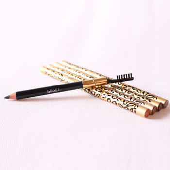 Cosmetic Leopard Pattern Double-End Waterproof Smudge-Proof Eyebrow Pencil with Brush -  BLACK