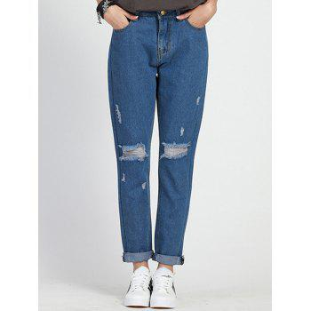 Stylish Ripped Plus Size High Waist Jeans For Women