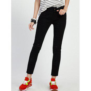 Stylish Ripped Plus Size High Waist Black Jeans For Women
