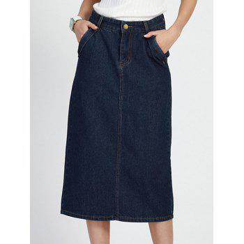 Stylish High Waist Bleach Wash Denim Skirt For Women