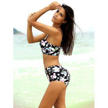 Strappy Cute High Waisted Bathing Suit - BLACK 2XL