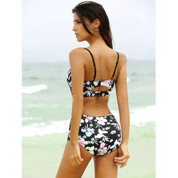 Strappy Cute High Waisted Bathing Suit - BLACK XL