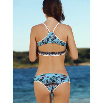 Stylish Spaghetti Strap Printed Chains Design Women's Bikini Set - M M