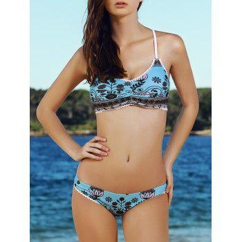 Stylish Spaghetti Strap Printed Chains Design Women's Bikini Set - LIGHT BLUE M