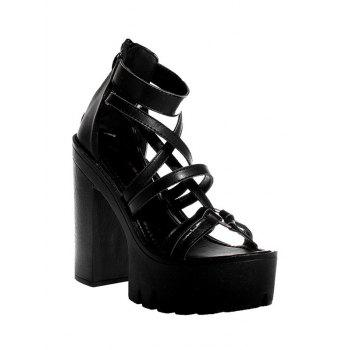 Stylish Black and Chunky Heel Design Sandals For Women