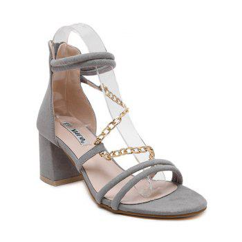 Trendy Chains and Chunky Heel Design Sandals For Women