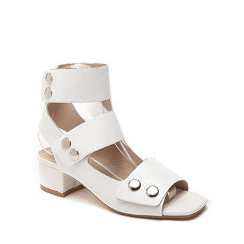 Leisure Chunky Heel and Solid Color Design Sandals For Women