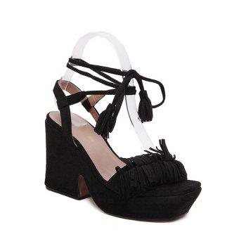 Trendy Fringe and Chunky Heel Design Sandals For Women