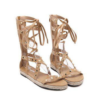 Rome High Top and Rivet Design Sandals For Women - APRICOT 37