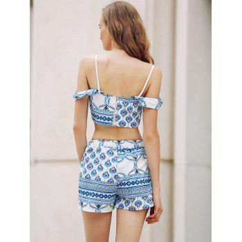 Trendy Spaghetti Straps Crop Top and Printed Shorts Twinset For Women - BLUE/WHITE BLUE/WHITE