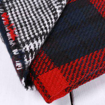 Chic Houndstooth Patchwork Plaid Pattern Fringed Edge Women's Winter Scarf - BLACK