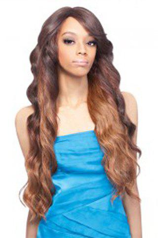Fluffy Wave Brown Mixed Synthetic Fashion Extra Long Capless Wig For Women - COLORMIX