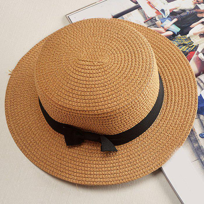 Chic Black Lace-Up Embellished Cool Summer Women's Straw Hat - LIGHT COFFEE