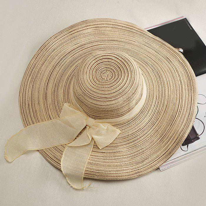 Chic Bow Lace-Up Embellished Wide Brim Cool Summer Women's Straw Hat - LIGHT KHAKI