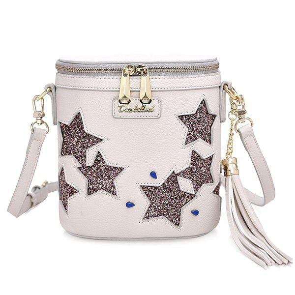 Chic Sequined and Stars Design Women's Crossbody Bag - WHITE
