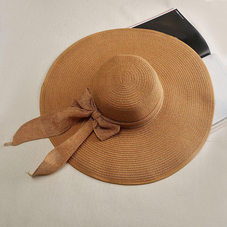 Chic Flax Bow Lace-Up Wide Brim Cool Summer Women's Straw Hat - COFFEE