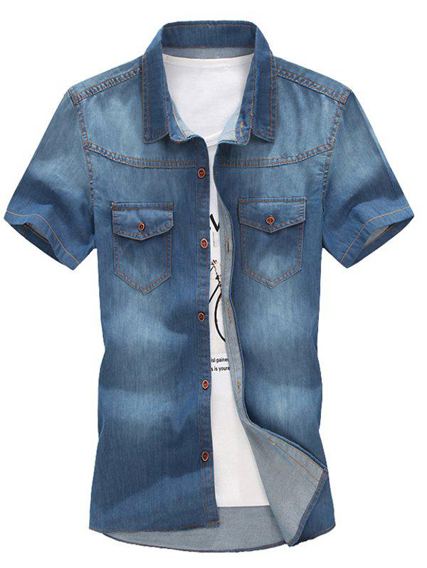 Men's Trendy Turn Down Collar Denim Shirts - MEDIUM BLUE XL