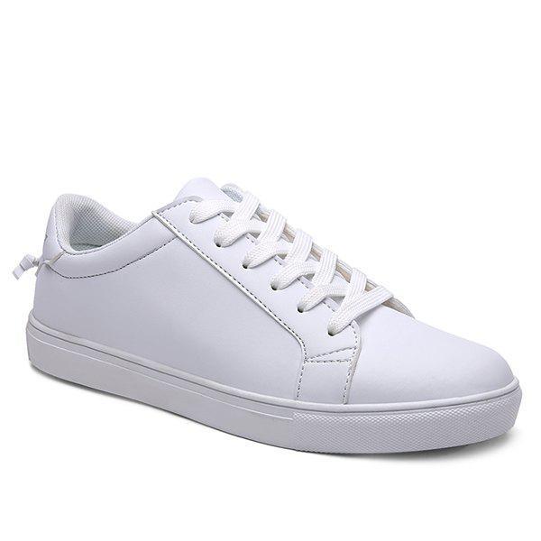 Concise White and Lace-Up Design Men's Casual Shoes - WHITE 40