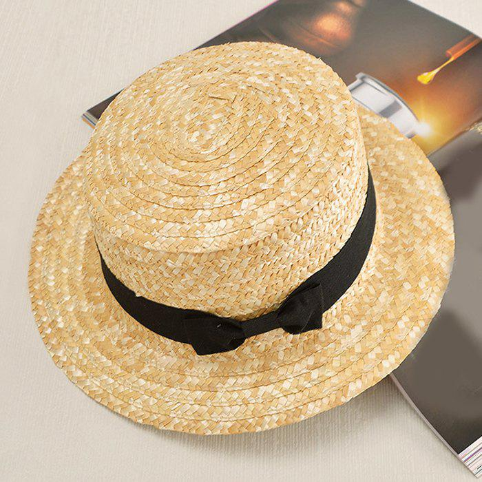 Chic Black Bow Lace-Up Fresh Cool Summer Women's Straw Hat - LIGHT KHAKI