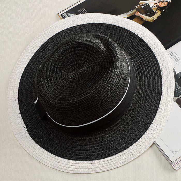 Chic Bow Band White Match Black Women's Hipsters Straw Hat - BLACK