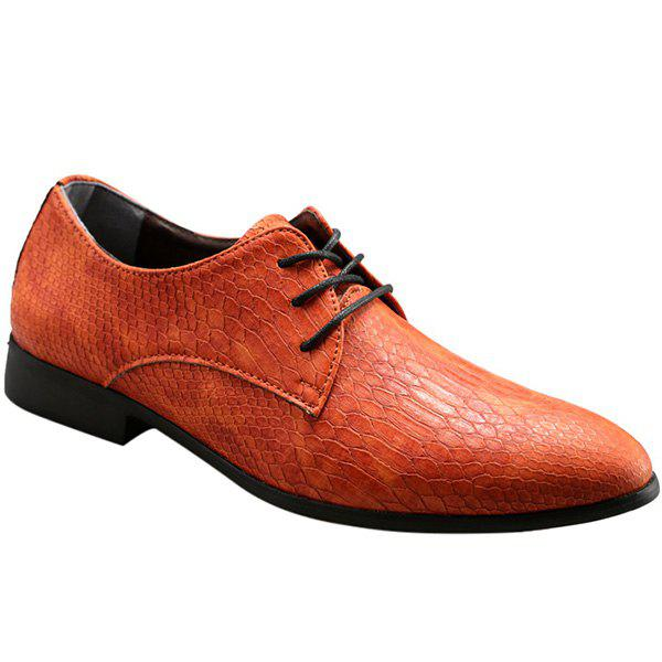 Fashionable Lace-Up and Embossing Design Men's Casual Shoes - 42 ORANGE