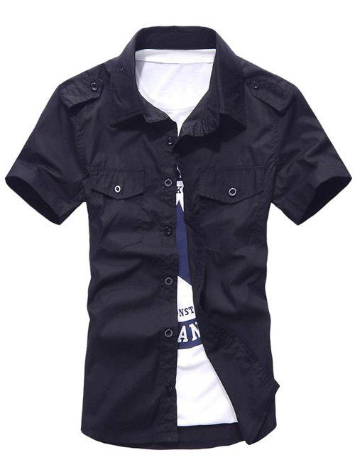 Solid Color Pockets Design Turn-Down Collar Plus Size Short Sleeve Men's Shirt - CADETBLUE L
