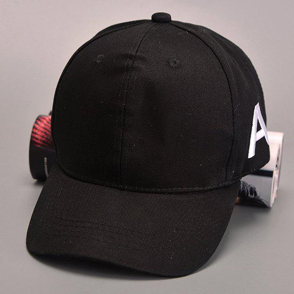 Stylish Letter A Embroidery Side Men's Hipsters Baseball Cap - BLACK