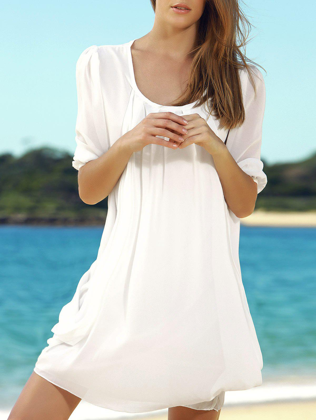 3/4 Sleeves Fairy Style Solid Color Chiffon Scoop Neck Women's Dress - WHITE ONE SIZE