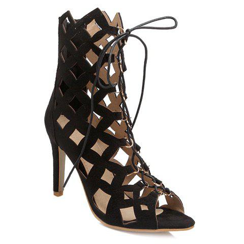 Vintage Lace-Up and Hollow Out Design Women's Sandals