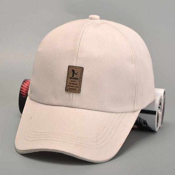 Stylish Rectangle Labelling Outdoor Sport Men's Baseball Cap - OFF WHITE
