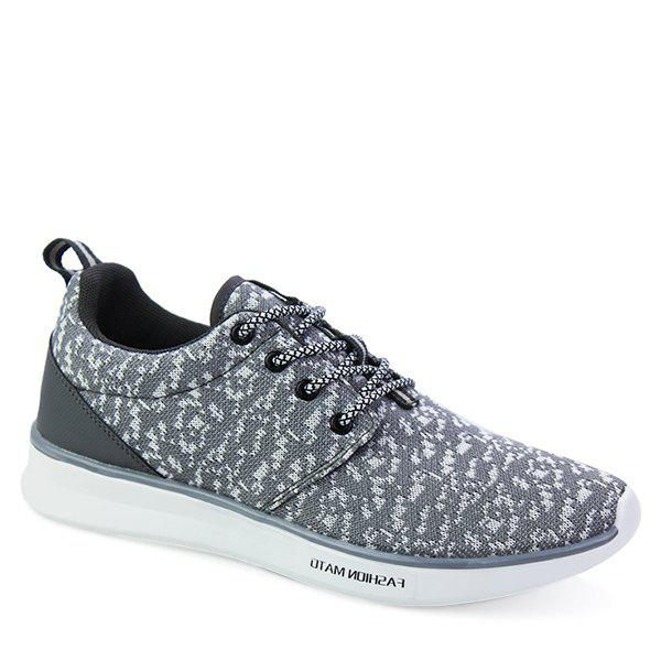 Sports Style Lace-Up and Mesh Design Men's Casual Shoes - GRAY 44