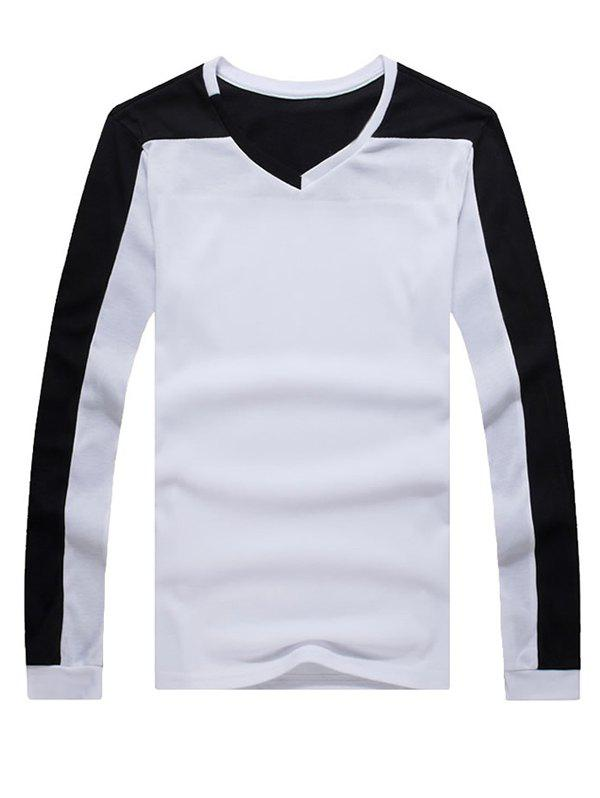 Casual Splicing V-Neck Long Sleeves Men's T-Shirt - WHITE XL