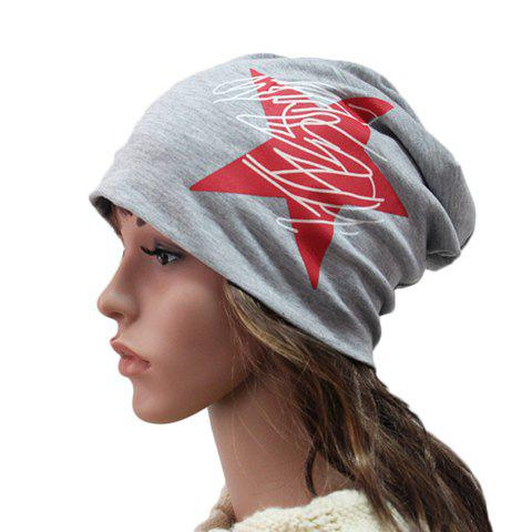 Chic Big Red Five-Pointed Star and Scrawl Pattern Women's Beanie - LIGHT GRAY