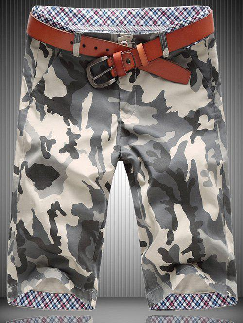 Casual Plus Size Straight Leg Camo Zipper Fly Men's Shorts - KHAKI 31