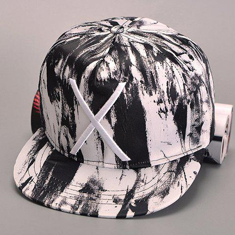 Stylish Big Letter X Embroidery Splash-Ink Men's Hipsters Baseball Cap - WHITE