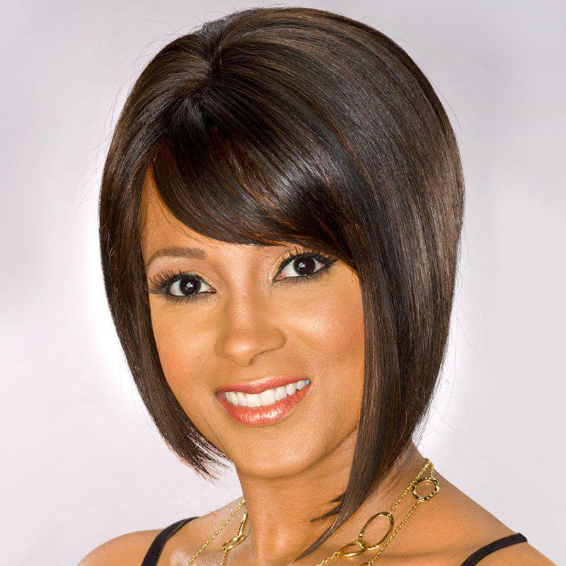 Stylish Short Side Bang Synthetic Dark Brown Straight Capless Wig For Women - DEEP BROWN